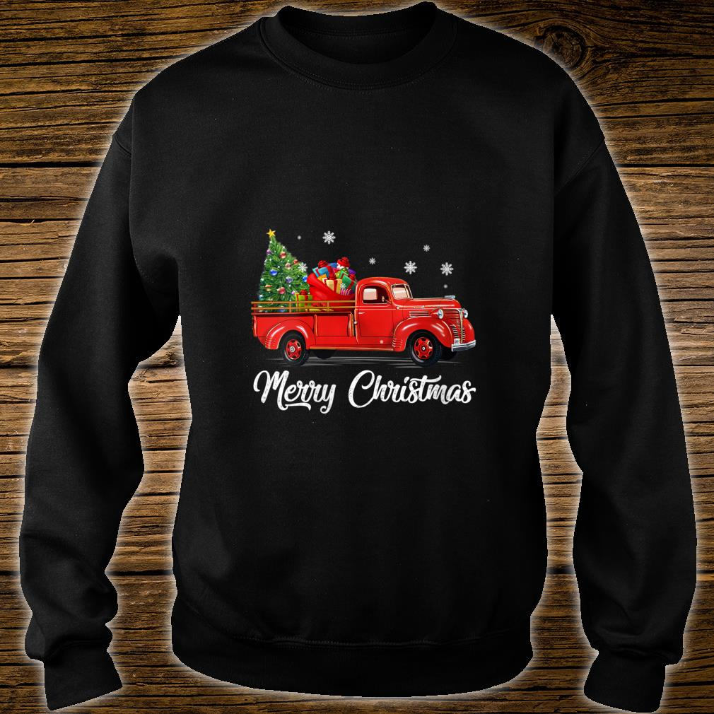Womens Retro Red truck with Merry Christmas Tree Vintage Christmas Shirt sweater