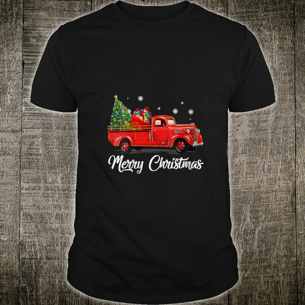 Womens Retro Red truck with Merry Christmas Tree Vintage Christmas Shirt