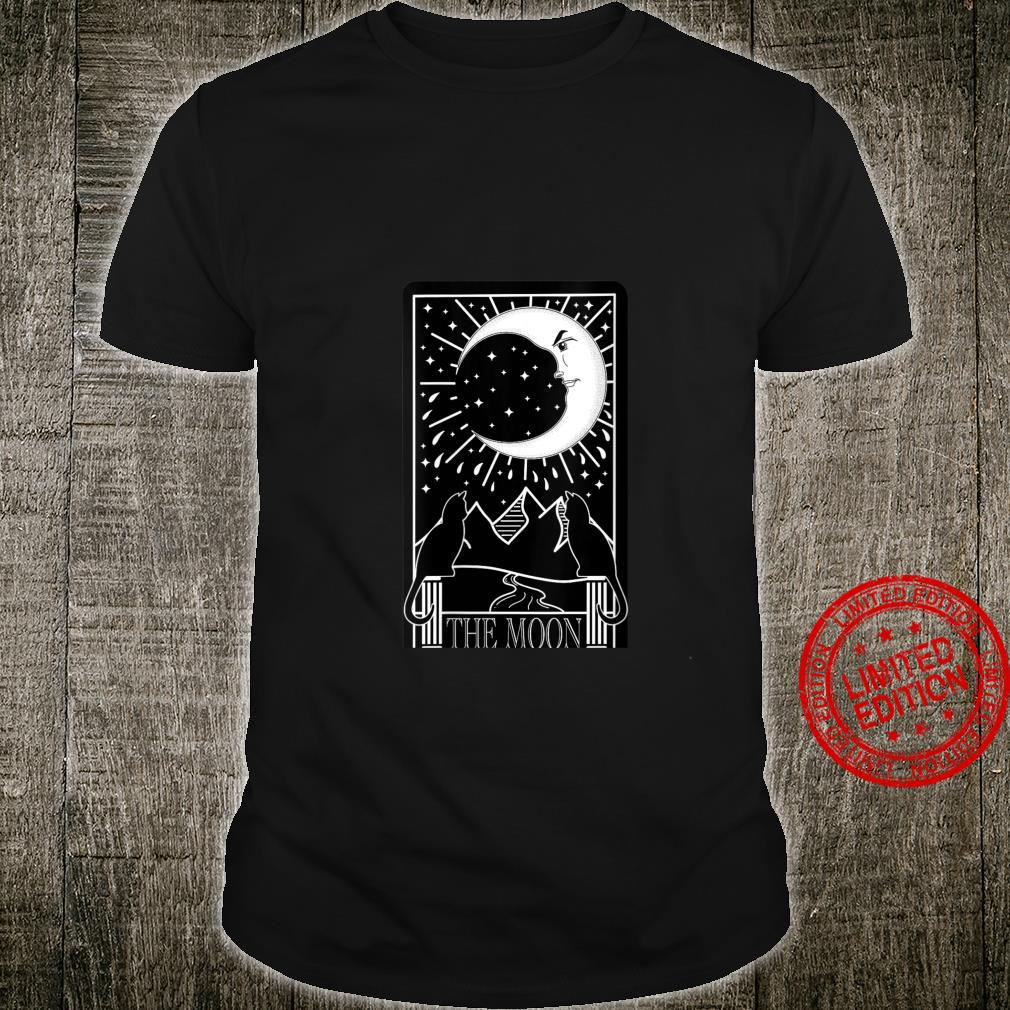 Womens The Moon Tarot Card with Cats and Mountains Shirt