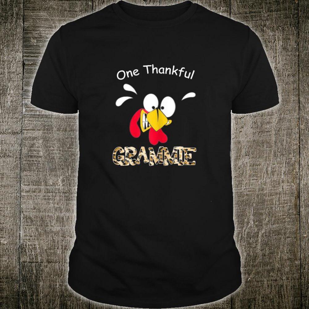 Womens Turkey One Thankful Grammie Grandma Thanksgiving Fall Shirt