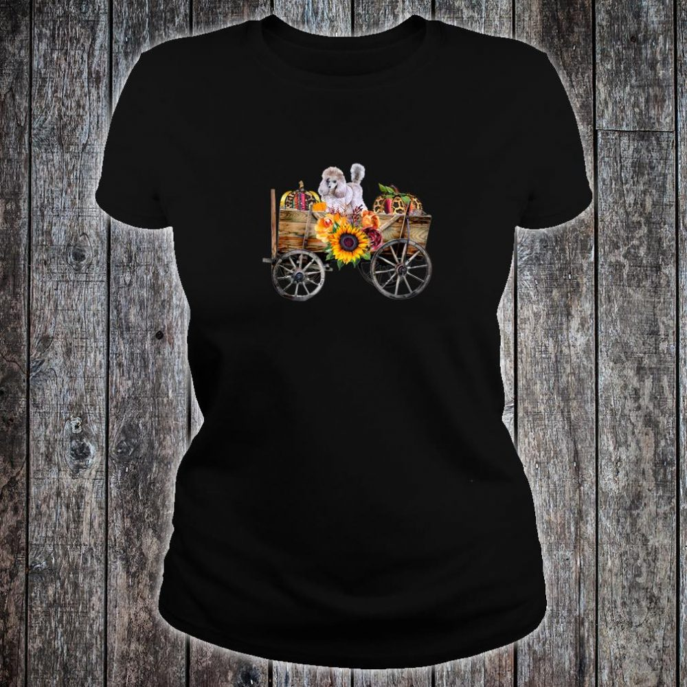 Womens White Toy Poodle Clothing Poodle Dog in Country Wagon Shirt ladies tee