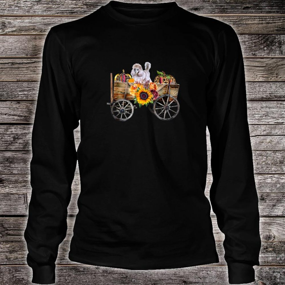Womens White Toy Poodle Clothing Poodle Dog in Country Wagon Shirt long sleeved