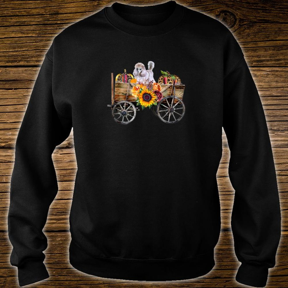 Womens White Toy Poodle Clothing Poodle Dog in Country Wagon Shirt sweater