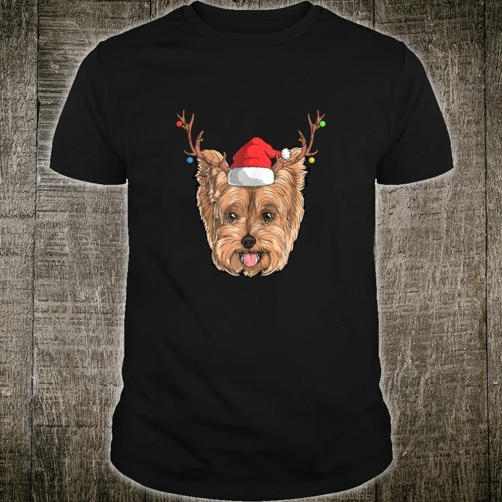 Yorkie Dog Santa Claus Hat Christmas XMas Holiday Reindeer Shirt