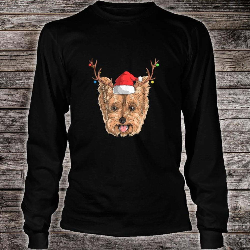 Yorkie Dog Santa Claus Hat Christmas XMas Holiday Reindeer Shirt long sleeved