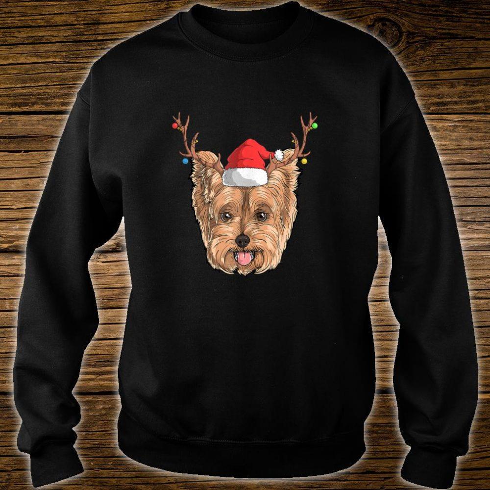 Yorkie Dog Santa Claus Hat Christmas XMas Holiday Reindeer Shirt sweater