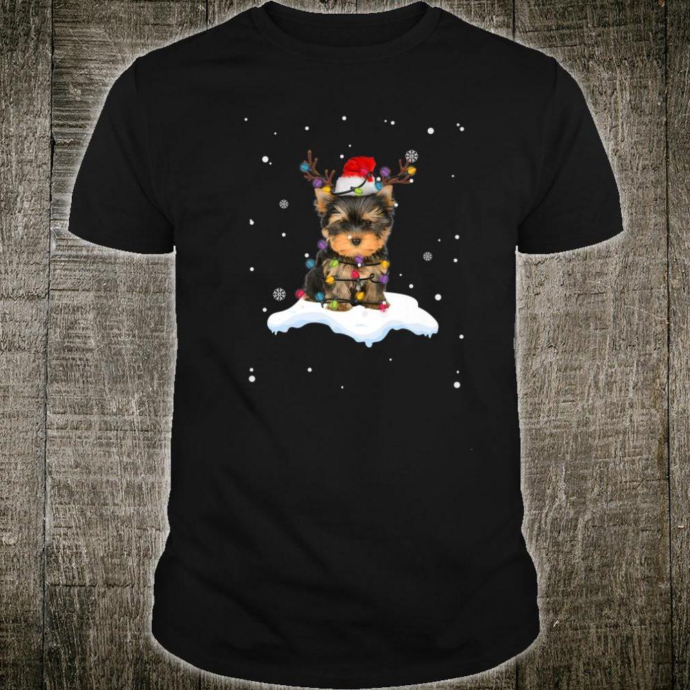 Yorkshire Terrier With Santa Hat Christmas Lights Reindeer Shirt